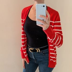 Old Navy striped red white cardigan